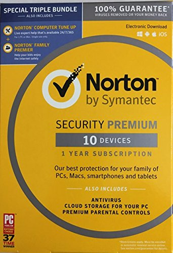 Norton Security with Backup + Bonus Norton Computer Tune Up Bundle (Up to 10 Devices)