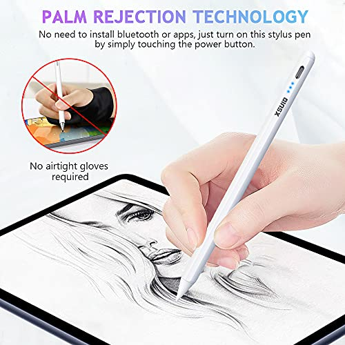 Ipad stylus for touch screens, with Power display, Palm Rejection, Magnetic and Tilt Design ipad Pencil , compatible with Apple iPad 6th-7th Gen/iPad Pro 11\'\'&12.9\'\'/iPad Mini 5th Gen/iPad Air 3rd Gen