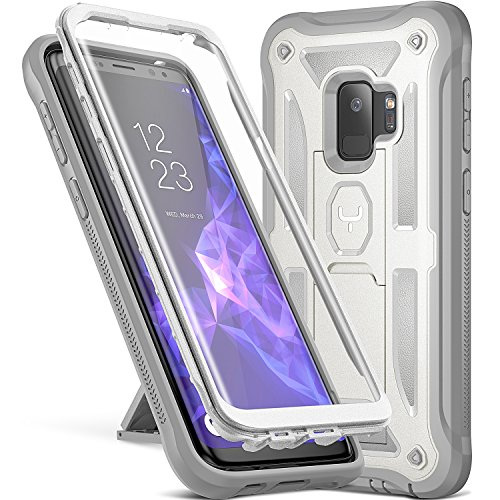 Galaxy S9 Case, YOUMAKER Heavy Duty Protection Kickstand with Built-in Screen Protector Shockproof Case Cover for Samsung Galaxy S9 5.8 inch (2018 Release) - White/Gray