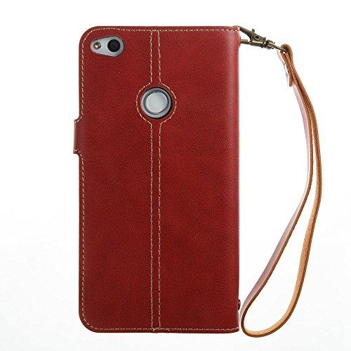 YHUISEN [Fuerte Imán] Lujo Retro Premium PU cuero Flip Cartera cubierta protectora del caso con correa de muñeca para Huawei P8 Lite 2017 / Huawei P9 Lite 2017 / Honor 8 Lite ( Color : Dark Blue ) Red