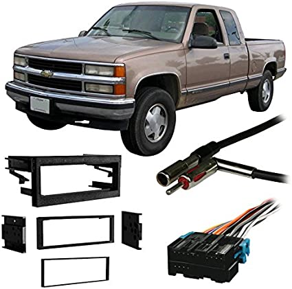 Compatible with Chevy S-10 Blazer 95-97 Double DIN Stereo Harness Radio Install Dash Kit