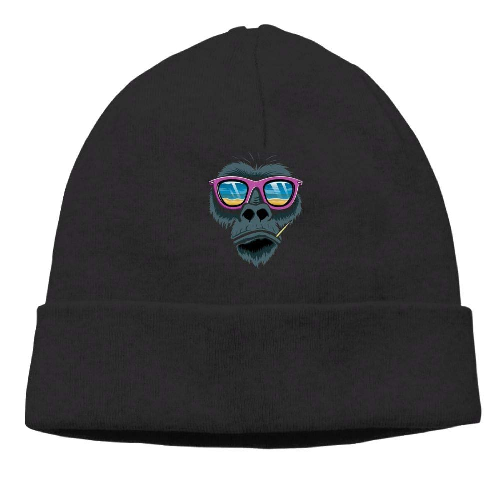 Poii Qon Beanie Hat Sunglasses Coastal Monkey Skull Cap for Womens Mens