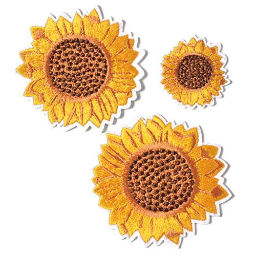 Sunflower Embroidery Patches Iron and Sew On Applique Badge for Clothes Jeans Jacket Hat Dress DIY Accessories (3 Pieces)