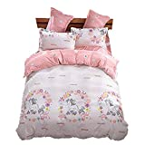 Girls Magic Unicorn Bed Set by KMZ [4pcs Twin size bedding 59''x79''- Flat sheet,duvet cover,2 pillow cases.No Comforter] pink princess worthy theme, Quality Microfiber,Soft,No chemicals,100% kids safe