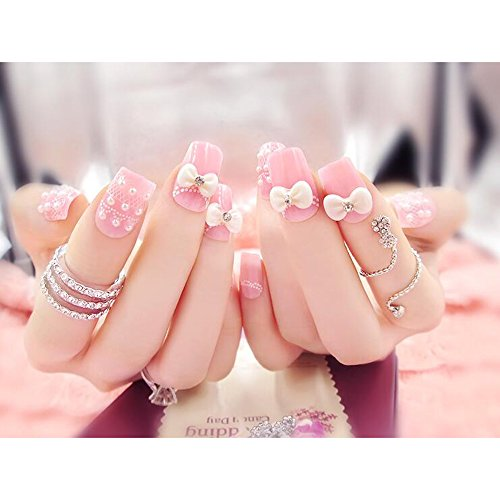 Dongcrystal 24Pcs 3D Bling Nail Art Jewelry Glitter Rhinestone Flower Decor Nail Tips Pink Bowknot Fake Nails