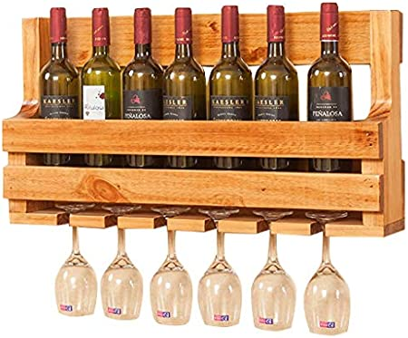 Vinoteca/Soporte/Estantes/Almacenamiento 1~7 Botella - Titular De Vidrio Stemware De Madera De Pino 6 Copas De Vino-70x36cm