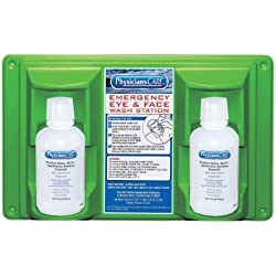 "PhysiciansCare 24-102 Wall Mountable Eye and Skin Flush Station with Two 16 oz Bottles, 16-1/2"" L x 3-3/4"" W x 13-1/2"" H"