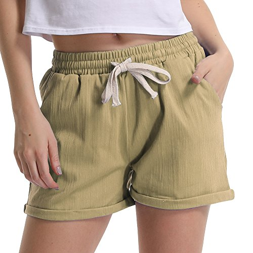 Gooket Women's Elastic Waist Casual Comfy Cotton Linen Beach Shorts with Drawstring Khaki Tag 4XL-US - Khaki Pleated Women Shorts :