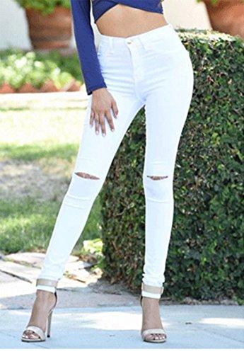 Annata Alta Donna Distrutti Bianco A Saideng Pantaloni Vita Jeans BnPpwwTq