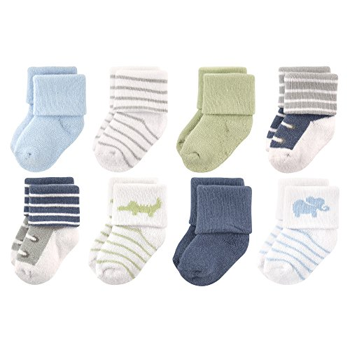 Luvable Friends Baby 8 Pack Newborn Socks, Safari, 0-6 Months