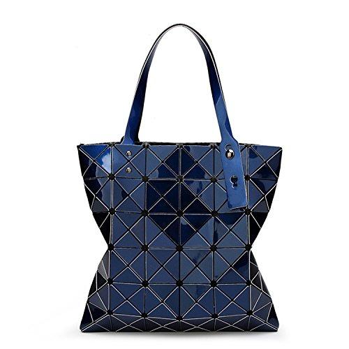 Ladies Folded Deep Blue Female Geometric Handbag Availcx Bag Plaid tzqwp0f