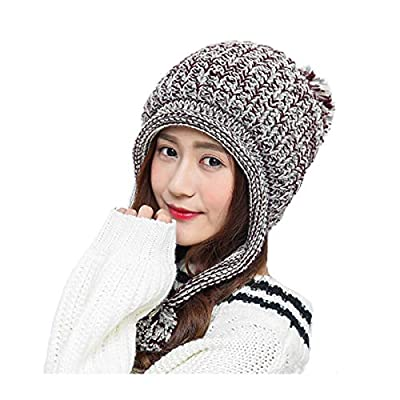 VAQM Women Winter Beanie Hat Ladies Knit Caps Ear Flap Winter Hat Cable Thick Knitted Beanie Pom