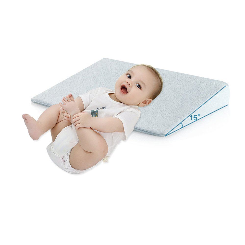 Qutool Crib Wedge Pillow for Baby Mattress Universal Memory Foam Sleep Pillow Infant Reflux and Nasal Congestion Relief Sleep Positioner for Newborn Baby with Removable Cover (Blue)