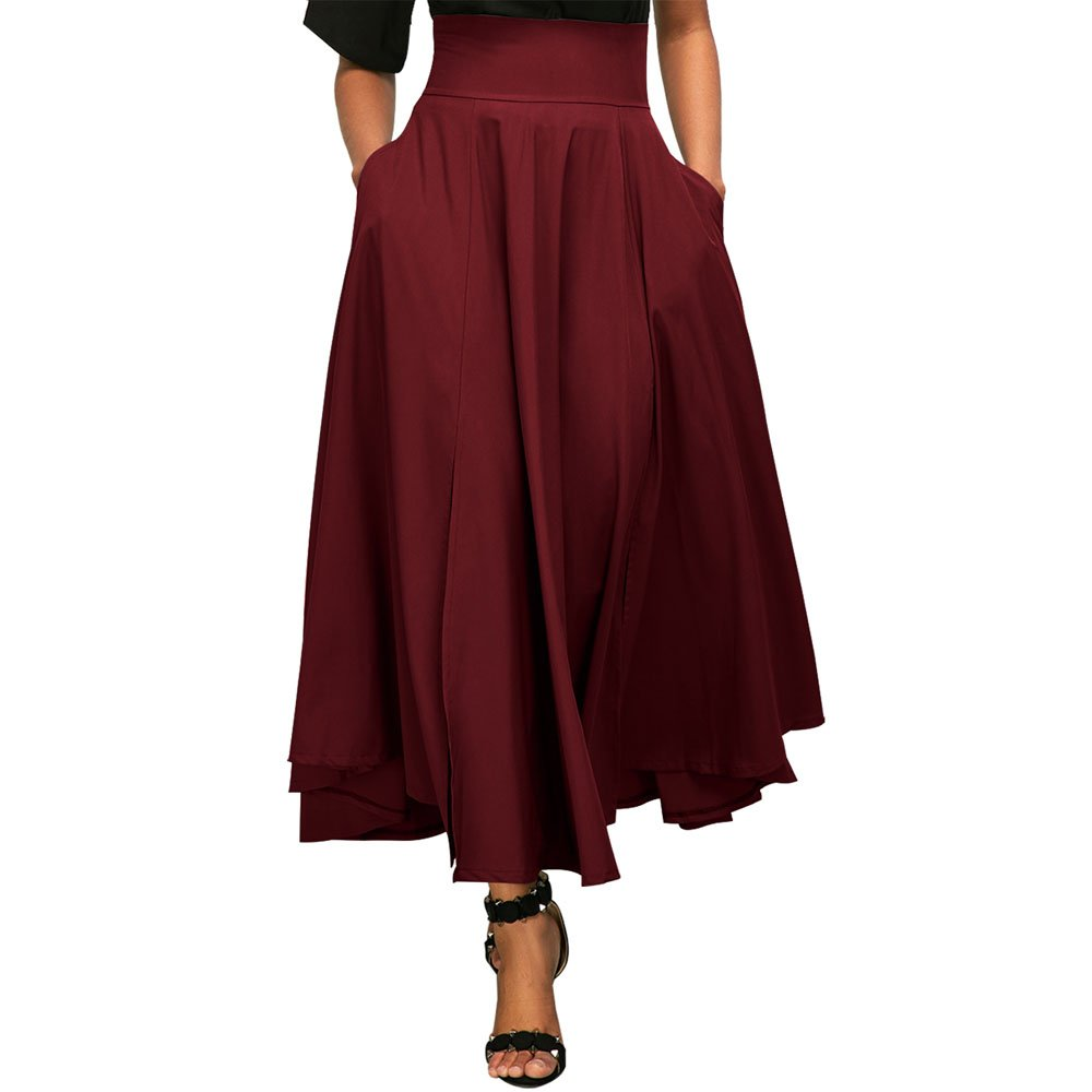 MuCoo Women's Retro High Waist Pleated A Line Front Slit Belted Maxi Skirt S-XXL Muc-CA-LC65053