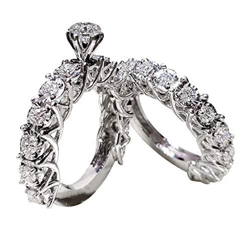 Creamdog❤️❤️2 in 1 Chic Women White Diamond Ring Set Wedding Engagement Jewelry Gift (Size 7, Silver) (Wedding Jewelry Platinum Set)