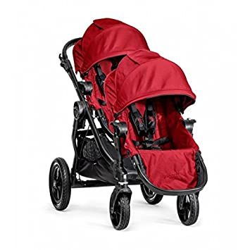 Baby Jogger City Select Single Black Frame Stroller with Second Seat – Red
