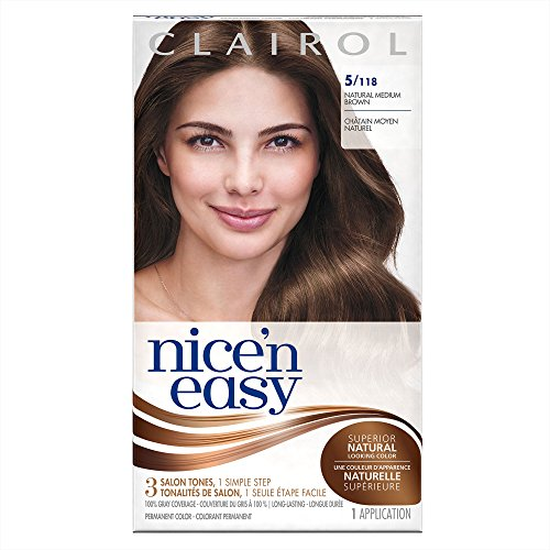 Clairol Nice 'n Easy Permanent Hair Color Kit, 3 Pack, 5/118 Natural Medium Brown Color, Natural Looking Color, Full Gray - Color Brown Mix