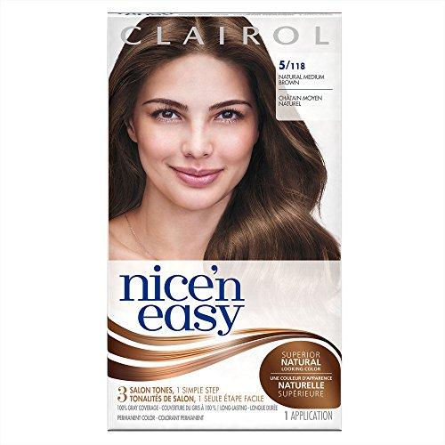 Clairol Nice 'n Easy Permanent Hair Color Kit, 3 Pack, 5/118 Natural Medium Brown Color, Natural Looking Color, Full Gray - Clairol Color Hair Permanent