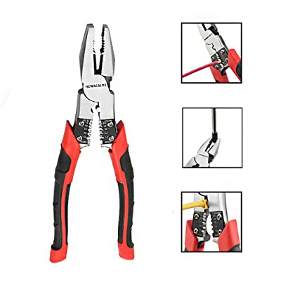 Lineman's Pliers, Combination Pliers with Wire Stripper/Crimper/Cutter Function, Heavy Duty Side Cutting High-Leverage Plier, 8 inch NEWACALOX Red