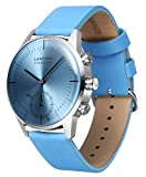 LANZOOM Series Oder Fashion Multifunctional 3 Buttons Quartz Hybrid Smart Watch 41mm Stainless Steel Case Italian Leather Band For Men (Blue + Blue)