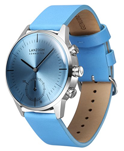 LANZOOM Series Oder Fashion Multifunctional 3 Buttons Quartz Hybrid Smart Watch 41mm Stainless Steel Case Italian Leather Band For Men (Blue + Blue) by LANZOOM