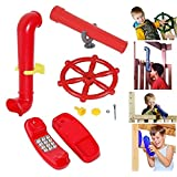 Toy Ships Steering Wheel, Periscope, Telescope & Telephone - Playhouse, Den, Climbing Frame Accessory (Red)