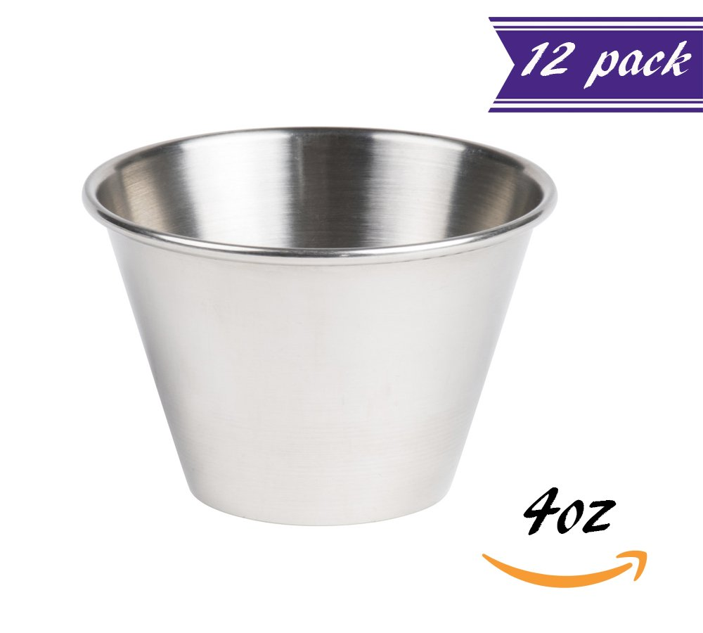 (12 Pack) Stainless Steel Sauce Cups 4 oz, Commercial Grade Dipping Sauce Cups, Individual Condiment Sauce Cups / Ramekins by Tezzorio by Tezzorio Tabletop Service