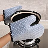 JZDCSCDNS Oven Gloves Anti-hot Non-slip Anti-puncture High Temperature Tear-resistant Kitchen Microwave Oven Baking Thickening Safety Food Grade Silicone Cotton Lining Potholders Gray , 23cm