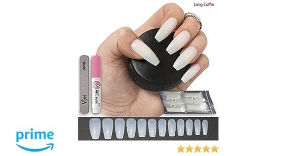 100 unidades de uñas postizas de coffin/bailarina, 12 tamaños, tamaño mediano, uñas naturales para uso en salón y bricolaje para uñas.: Amazon.es: Belleza