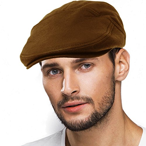 Men's Thick Faux Leather 7 Panel Flat Golf Ivy Driver Cabbie Cap Hat S/M