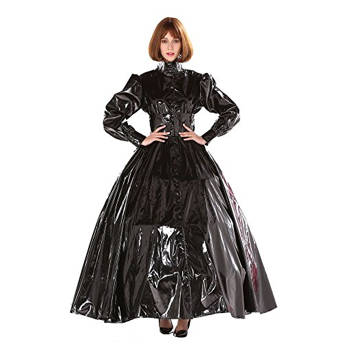 GOceBaby Gothic Punk Cool Black PVC Ball Gown Dress Uniform Crossdress (M)
