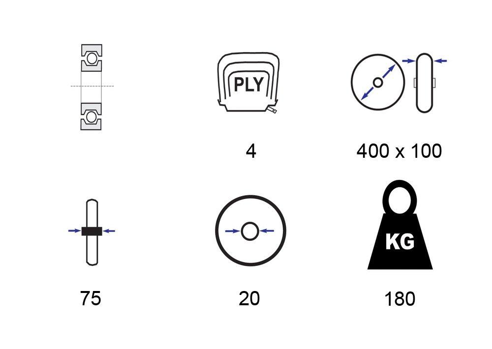Schubkarrenrad Metallfelge 400 x 75mm Kugellager 180 kg Rad Schubkarre 4.00-8