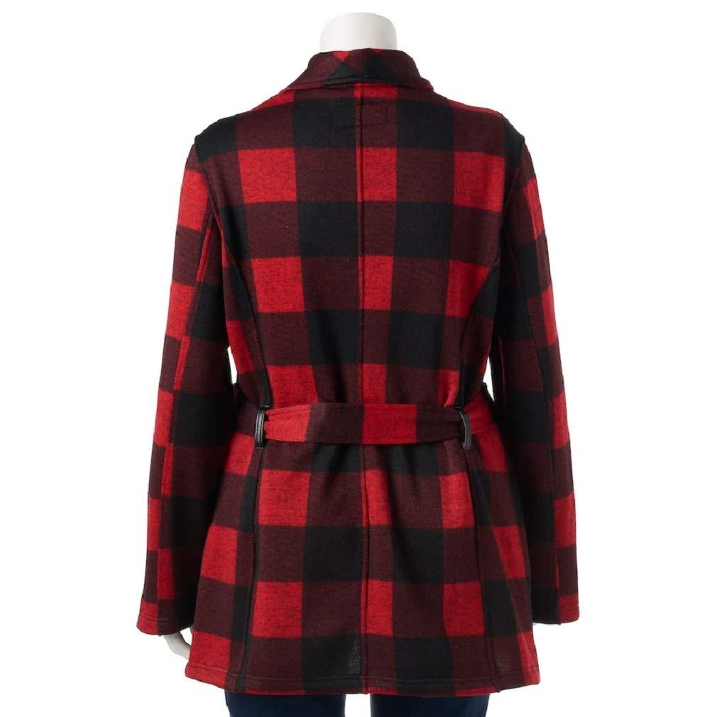 72c2fc0bfa2 Madden-Girl Juniors  Plus Size Side-Zip Plaid Jacket at Amazon Women s  Coats Shop