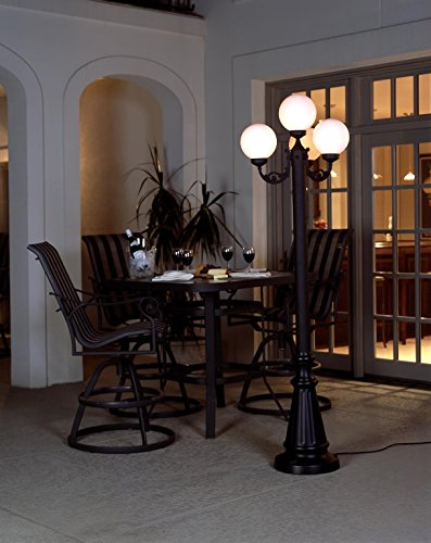 European 00370 Patio Lamp Black Body With Four White Globes 80-inches ()