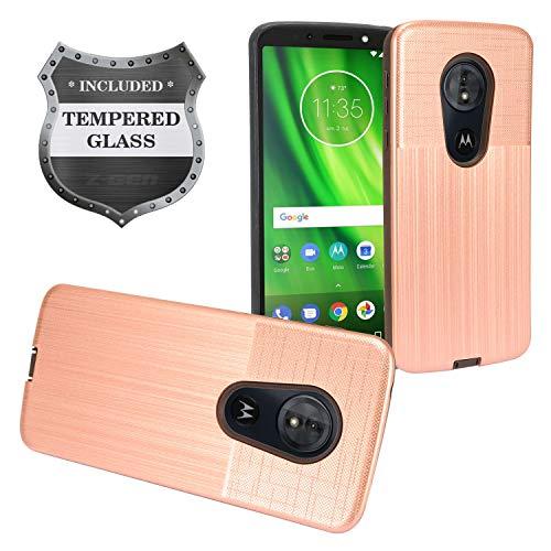 Z-GEN - Motorola Moto G6 Play, Moto G6 Forge XT1922, Moto E5 (5.7) XT1920DL - Hybrid Case + Tempered Glass Screen Protector - CF2 Rosegold