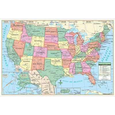 United States Primary Mounted Wall Map