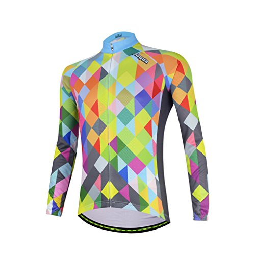 YIDUN Cycling Jersey Long Sleeve Thermal Fleece Reflective Colorful Blocks Size XXXL