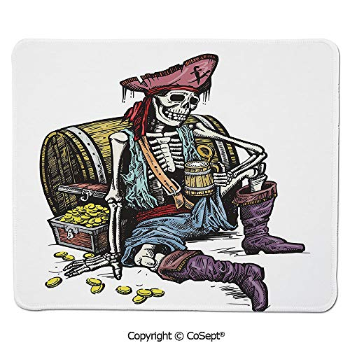 Mouse Pad,Skeleton Pirate Holding Mug of Beer Treasure Chest Gold Freebooter Sailor Corsair Decorative,for Computer,Laptop,Home,Office & Travel(7.87