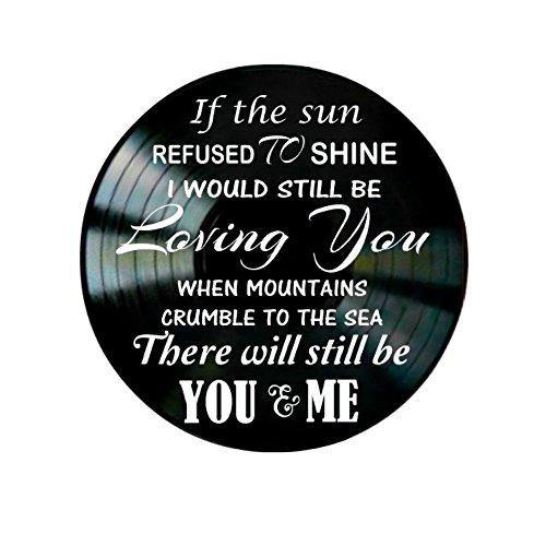 Led Zeppelin Thank You song lyrics on a Vinyl Record Album Wall Art Decor ()