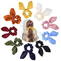 GABWE Hair Scrunchies Elastics 9pcs Scarf Chiffon Satin Silk Elastic Bunny Ear Bow Hair Ties Ropes Ponytail Holder Accessories for Women Girls