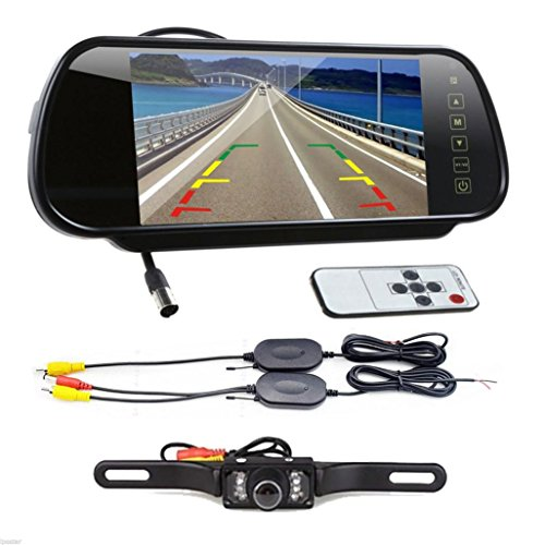 Oksale® 7 Inch LCD Scree Car Rear View Backup Mirror Monitor +Wireless Reverse IR Remote Control Camera Kit