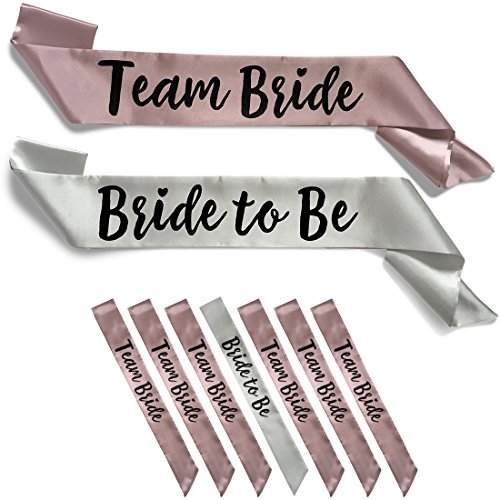 Team Bride 7pc Satin Sash Set - Sophisticated & Fun Party Favors for Bachelorette Party, Bridal Shower & Wedding Party (7pc Set, Silver & Dusty - Silver Dusty