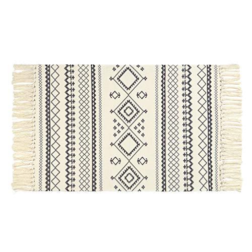 LEEVAN Moroccan Cotton Area Rug,Hand Woven Cream Chic Diamond Print Tassels Throw Rugs Door Mat,Indoor Area Rugs for Bathroom,Bedroom,Living Room,Laundry Room,2 ft x 3 ft ()