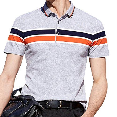 ジャニスアンプジャムポロシャツ メンズ ゴルフウェア 半袖 コットン95% ストレッチ5% 二重衿 グレー 軽量 吸汗通気 8070HUI-4L