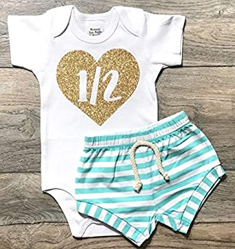 Romari For Kids 1 2 In Heart Half Birthday Outfit Gold Glitter Onesie