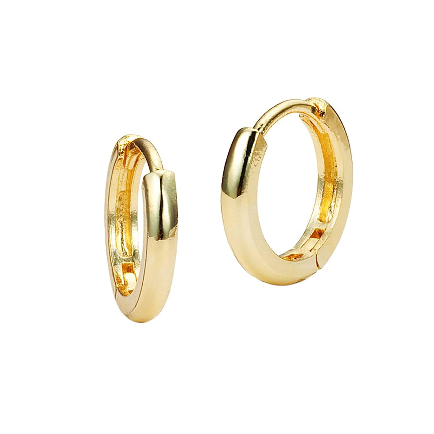 Buy 14k Gold Plated Brass Small Plain Hoop Huggy Girls Earrings ...