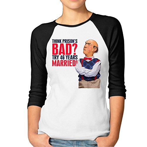 BMW47' Women's Jeff Dunham 3/4 Sleeve Baseball Jersey Shirts - Medium (Jeff Dunham Peanut Costume)