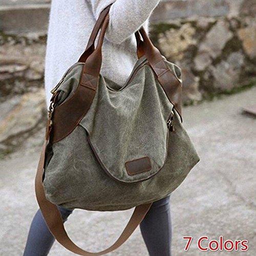 Jiamusi 2017 Large Pocket Casual Women's Handbag Shoulder Cross Body Handbags Canvas Large Capacity Bags for Women Army Green one Size