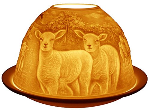 Light-Glow Sheeps Candle Holder, Porcelain, White, 13 x 12 x 8 cm