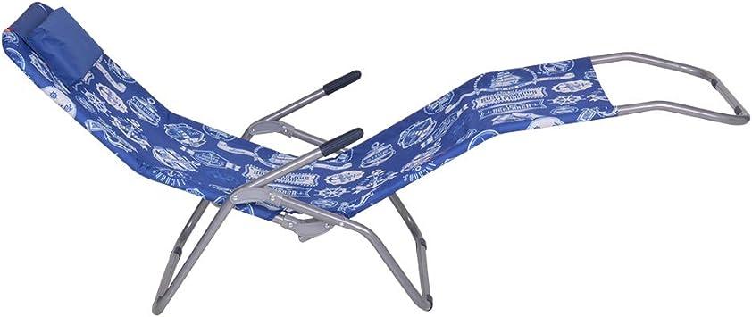 Blu Esterno e Mare Enrico Coveri Lettino Sdraio Basculante e Reclinabile in Acciaio e Tessuto Textilene Perfetto per Arredo Giardino